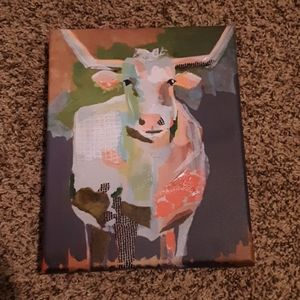 Canvas Cow Painting